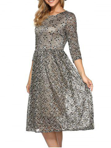 Hot Rhinestone Embroidery Lace Dress KHAKI 2XL