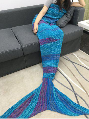 High Quality Super Soft Crochet Knitted Mermaid Tail Sofa Blanket - BLUE + PURPLE