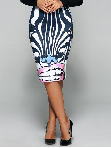 Sale Zebra 3D Print Knee Length Skirt STRIPE XL