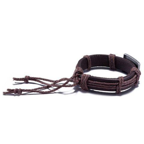 Latest Faux Leather Woven Engraved Jesus Bracelet - BROWN  Mobile