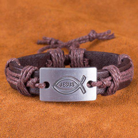 Store Faux Leather Woven Engraved Jesus Bracelet - BROWN  Mobile