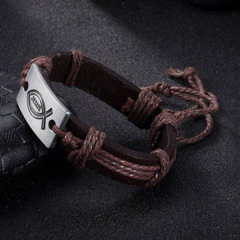 Chic Faux Leather Woven Engraved Jesus Bracelet - BROWN  Mobile