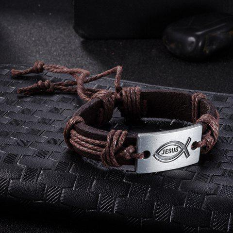Unique Faux Leather Woven Engraved Jesus Bracelet - BROWN  Mobile