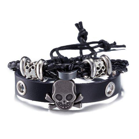 Unique Faux Leather Woven Skull Infinity Bracelet - BLACK  Mobile