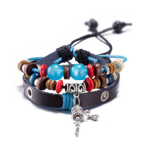 Chic Faux Leather Woven Key Charm Bracelet - BLUE  Mobile
