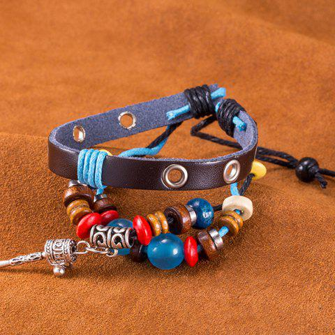 Latest Faux Leather Woven Key Charm Bracelet - BLUE  Mobile