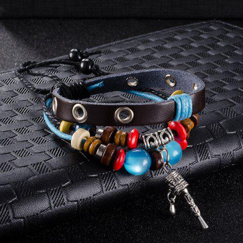 Fancy Faux Leather Woven Key Charm Bracelet - BLUE  Mobile
