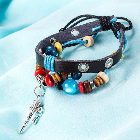 Affordable Faux Leather Woven Key Charm Bracelet - BLUE  Mobile