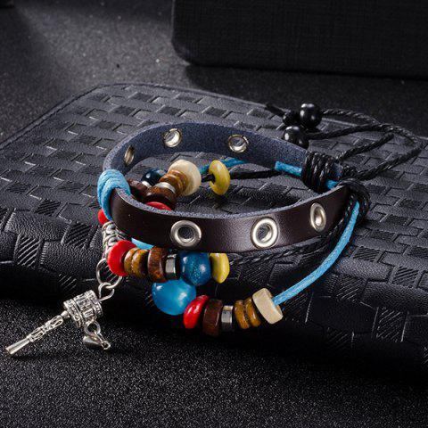 Store Faux Leather Woven Key Charm Bracelet - BLUE  Mobile