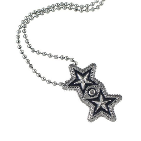 Shop Pentagram Geometric Beaded Pendant Sweater Chain SILVER