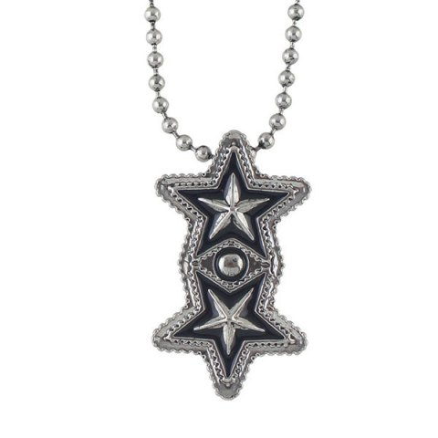 Fashion Pentagram Geometric Beaded Pendant Sweater Chain - SILVER  Mobile