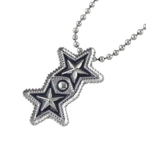 Cheap Pentagram Geometric Beaded Pendant Sweater Chain - SILVER  Mobile