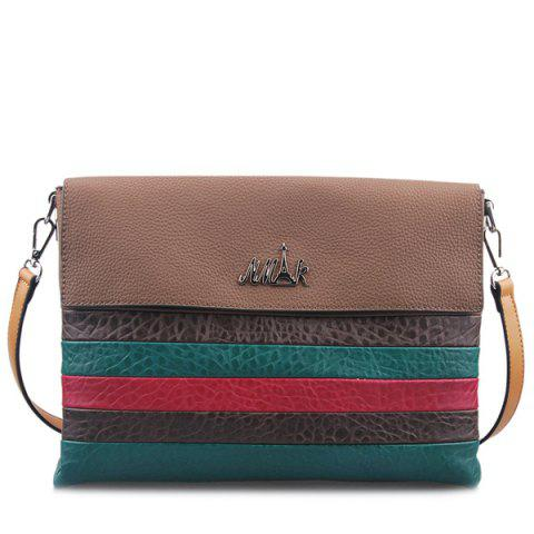 Hot Colour Block Striped Pattern Textured Leather Crossbody Bag