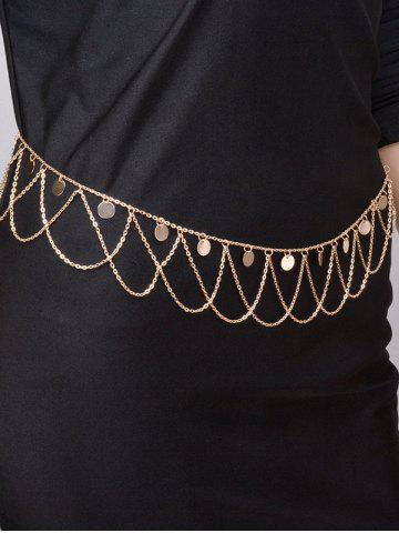 Round Belly Chain Paillettes Vague Tassel Or