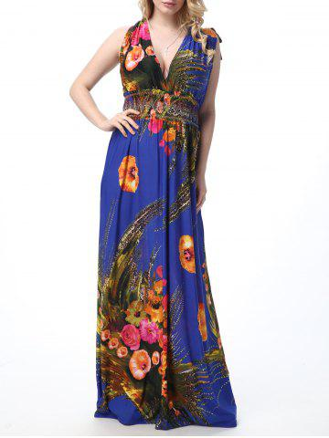Unique Floral Print Empire Waist Floor Length Boho Dress SAPPHIRE BLUE 4XL