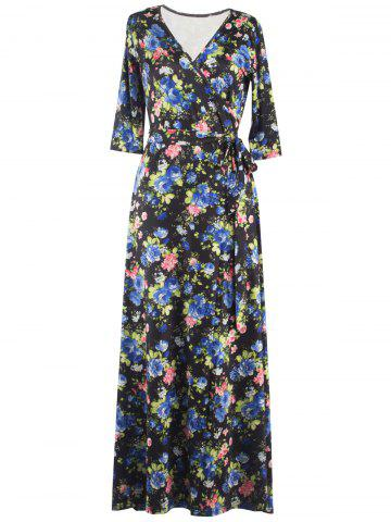 Store Floral Print Tied Belted Surplice Maxi Dress