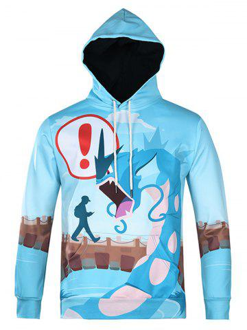 Online Cartoon Monster Printed Pullover Cool Hoodie