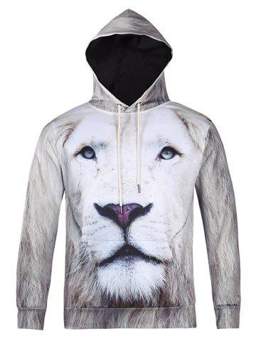 Shops Lion 3D Printed Cool Hoodie WHITE 2XL