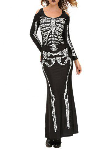 Fashion Skull Print Halloween Witch Cosplay Costume