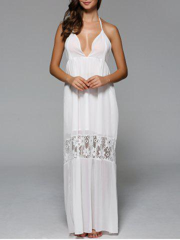 Discount Halter Backless Lace Spliced Maxi Dress