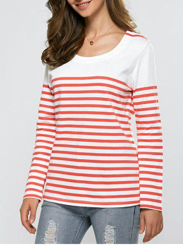 Affordable Striped Casual Sweater RED/WHITE XL