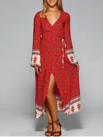 New Maxi Bell Sleeve Floral Wrap Dress