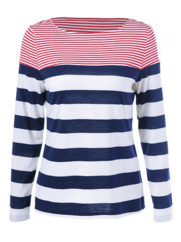 Chic Striped Long Sleeves T-Shirt COLORMIX M
