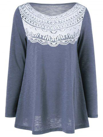 Chic Lace Splicing Pleated T-Shirt - BLUE GRAY L Mobile