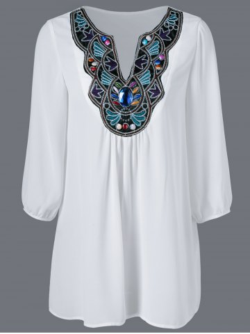 Latest Embroidered Maxican Peasant Chiffon Blouse WHITE XL