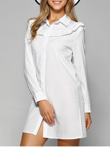 Affordable Long Sleeve Agaric Edge Mini Button Up Shirt Dress WHITE M