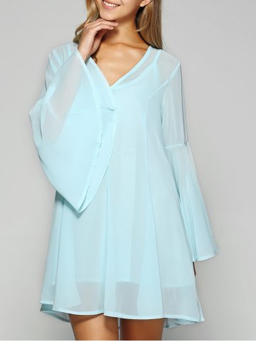 Cheap Mini Chiffon Flare Long Sleeve Swing Tunic Dress LIGHT BLUE XL
