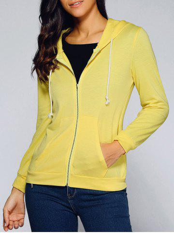 Drawstring Hooded Front Pocket Hoodie - Yellow - S
