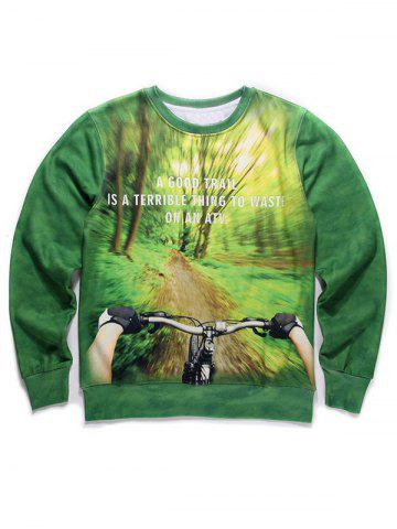 Sale Round Neck 3D Forest and Bicycle Print Long Sleeve Fleece Sweatshirt GREEN XL