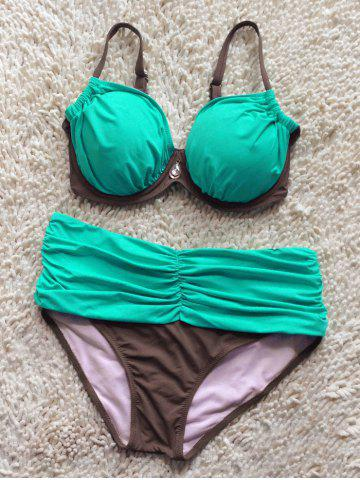 Affordable Color Spliced Ruched Bikini Set LIGHT GREEN XL