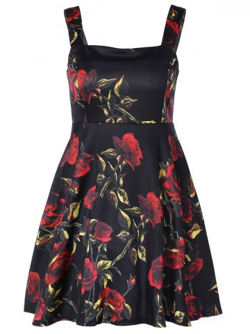 Buy Square Neck Flower Print Fit and Flare Dress