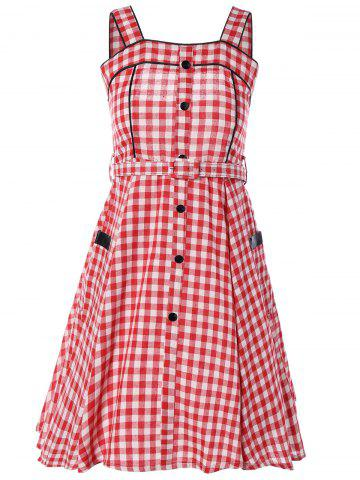 Discount Vintage Belted Checked Button Down Dress
