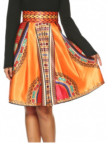 Trendy Vintage Knee-Length African Skirt