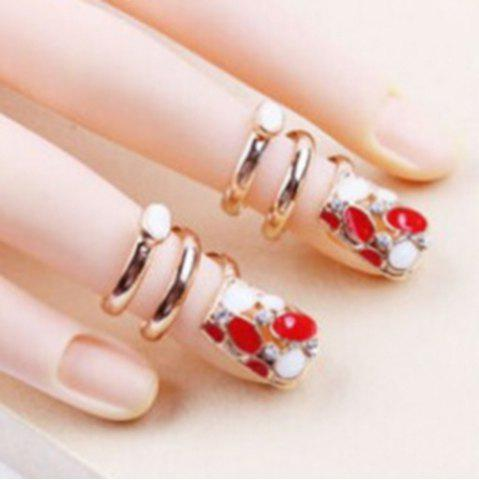 Latest Rhinestone Fingernail Statement Ring GOLDEN