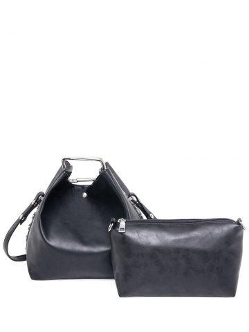 Affordable PU Leather Magnetic Metal Shoulder Bag BLACK