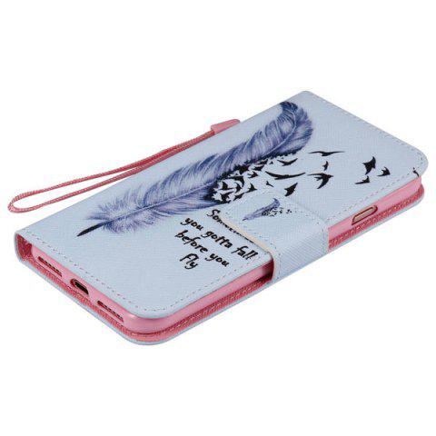 Trendy Bird Feather PU Wallet Design Phone Case For iPhone 7 - LIGHT BLUE  Mobile