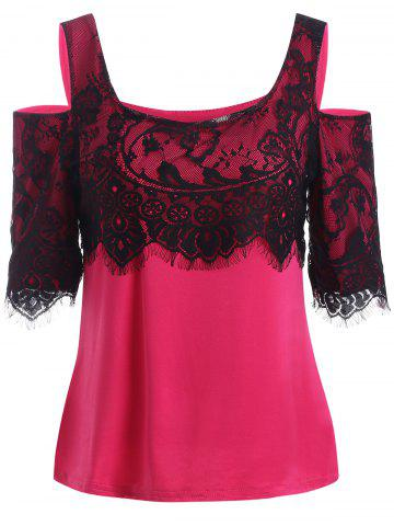 Buy Cold Shoulder Lace Splice T-Shirt