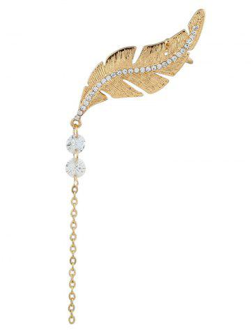 Shops Leaf Rhinestone Chain Drop Ear Cuff GOLDEN