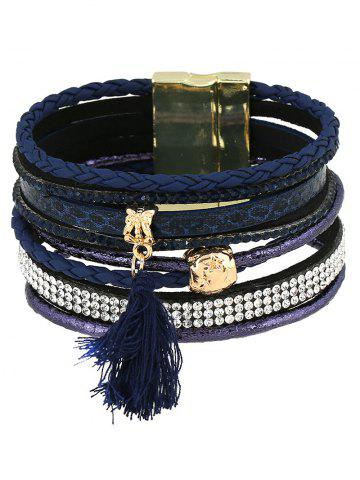 Unique Faux Leather Rhinestone Tassel Layered Bracelet DEEP BLUE