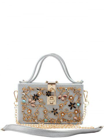 Latest Metal Flowers Rhinestones Evening Bag