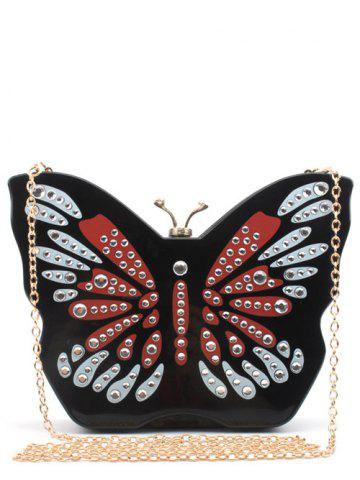 Buy Color Splicing Butterfly Shape Rhinestones Evening Bag