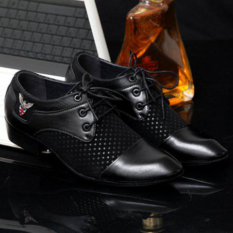 Store Tie Up Splicing Metal Formal Shoes - 43 BLACK Mobile