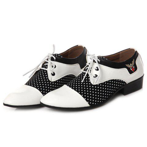 Hot Tie Up Splicing Metal Formal Shoes - 41 WHITE AND BLACK Mobile