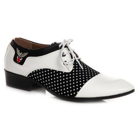 Latest Tie Up Splicing Metal Formal Shoes WHITE AND BLACK 42