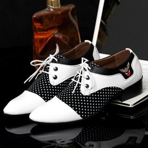 Affordable Tie Up Splicing Metal Formal Shoes - 42 WHITE AND BLACK Mobile