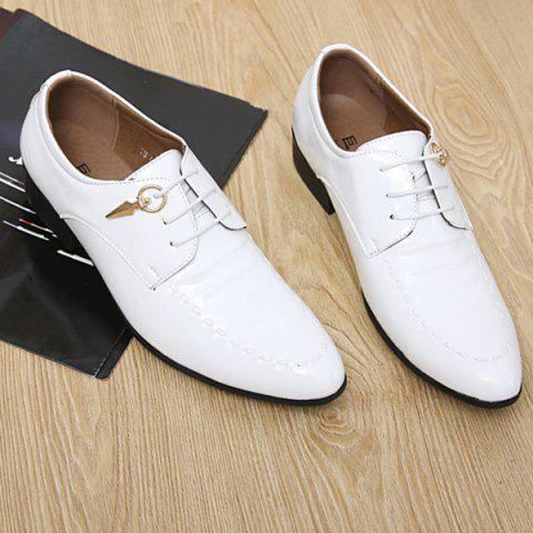 Best Metal Patent Leather Lace Up Formal Shoes - 43 WHITE Mobile